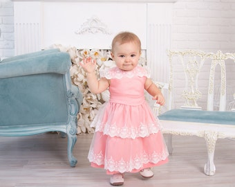 Pink Lace dress Baby girl Princess Dress Party Dress First Birthday outfit