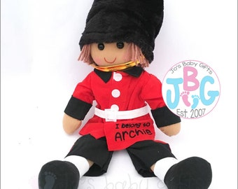 Personalised Large Soldier Rag Doll, Custom Rag dolls, Embroidered baby gift, soldier