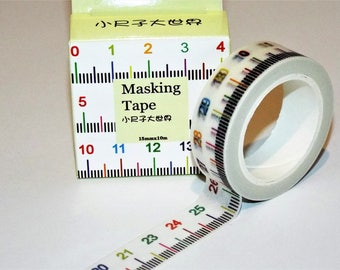Ruler Or Measurement Japanese Washi Tape. Scrapbook and Stationery Tape. 15mmx10m