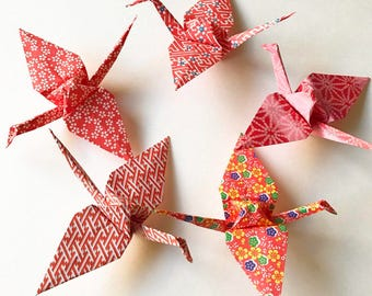 5 Red Pattern Paper Cranes (5)