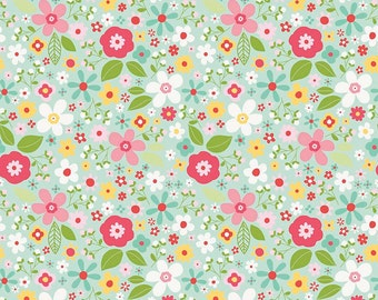 Garden Girl Mint Floral Riley Blake Fabric by the Yard