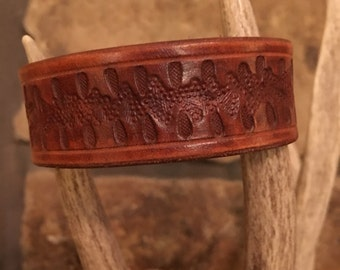 Leather, Cuff, Bracelet, Handmade, Hand Painted, Hand Embossed, Tooled, Snap, Tan, Made in USA, One-of-a-Kind, Men's, Women's, Gifts