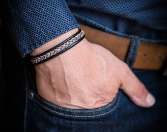 Man Duo of black and Brown Leather Bracelet