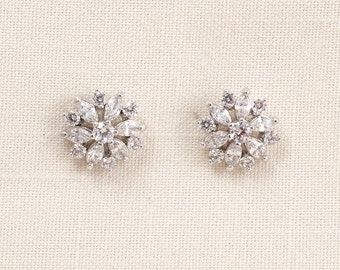 Wedding Bridal Silver Cubic Zirconia Crystal Earrings JSB10068ESilver