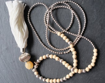 Honey Coloured Calcite and Wooden Bead Tassel Necklace