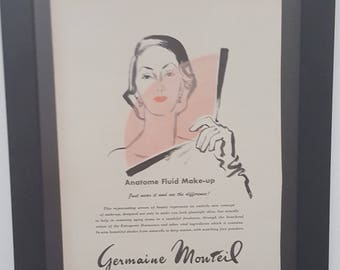 Makeup, Germaine Monteil, Illustration, Vogue Masthead, Jessica Daves, Editor, Vintage, Vogue, 1955, Magazine Ad,