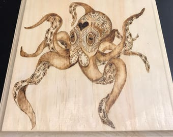 Custom wood burned portrait, pet portrait, pyrography portrait, woodburned art, octopus, dog, cat, animals, any special request or custom