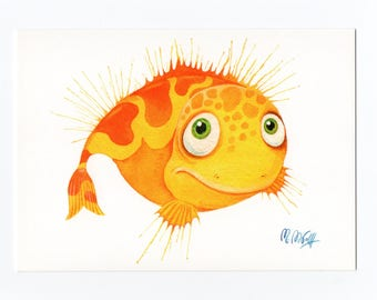 Postcard fish yellow, fine art postcards, watercolour