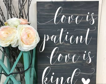 1 Corinthians 13 // Love is patient love is kind // Custom Sign // Home Decor // Wedding Sign // Wood Sign // Wood Sign//