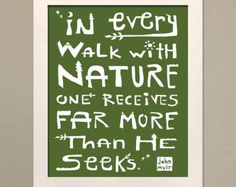 John Muir Nature Quote Poster