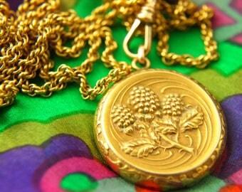 Flower Locket Necklace - Repousse Locket - Hydrangea Locket - Art Nouveau Locket - Gold Filled Locket - Wedding Locket - Watch Chain