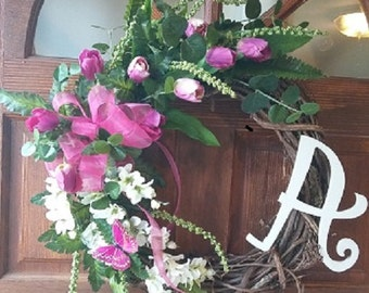 Spring Wreath with Monogram and Butterfly