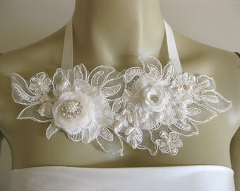 OOAK 3D Statement ivory lace necklace  flowers off white freshwater pearls beads rhinestones wedding bridal silk