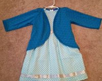 3T Toddler Girls Blue print dress with Blue sweater