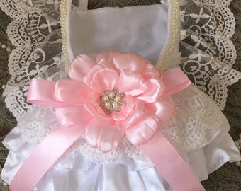 Baby girl white lace pearl pink flower romper outfit photo prop
