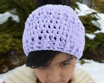 Messy bun beanie hat lavender color