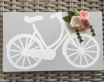 Handcrafted handmade wooden bicycle decor sign felt floral
