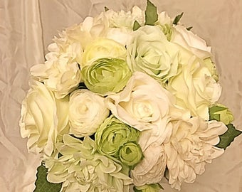 Green and White Bridal Wedding Bouquet and Boutonniere Set // Pale green, ivory and white roses and dahlias//bridal bouquet flower set