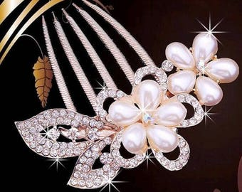 Rose Gold Plated pearl and crystal flowers hair comb