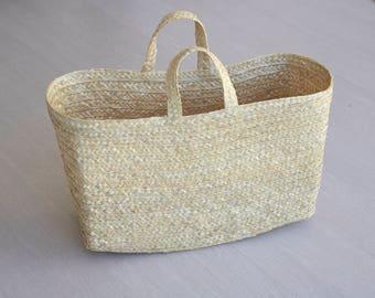 Straw handbag with handles, boho bag, handmade purse, summer handbag, beach bag, handmade in Portugal.