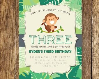 Monkey Birthday Party Invite