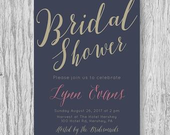 Navy & Gold Bridal Shower Invite