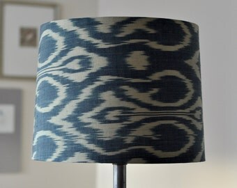 """Antique cotton/silk ikat weave tapered drum lamp shade, 13""""W x 10""""h"""