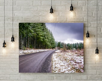 Snowy Road in Sprint in North Plains, Oregon Pacific Northwest Large Canvas Photography Art Print