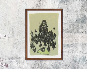 Giant A4 print illustration drawing graphic coal