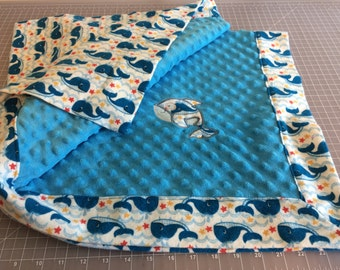 Whale Embriodered Baby Blanket - Free shipping