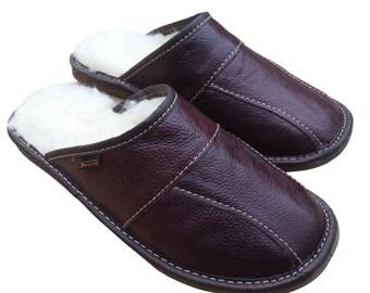Men's Sheepskin Wool Maroon  Leather Slippers Shoes Size 7 8 9 10 11 12 13 Luxury