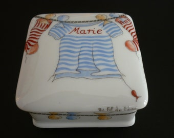 Square box hand painted over porcelain custom red and blue water.