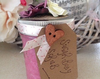 Rose sugar body scrub, exfoliator for face and body, rose essential oils natural ingredients