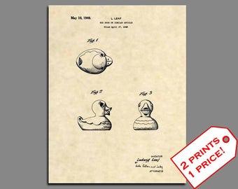 Kids Bathroom Art - Rubber Ducky Patent Print - Vintage Rubber Ducky Art Patent Prints - Bathroom Wall Art Patent Poster Bathroom Decor 227