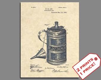Patent Prints - 1890 Gunpowder Can Patent Art Patent Poster - Vintage Gun Powder Musket Ammunition Rifle Art Patent Print - Ammunition - 198