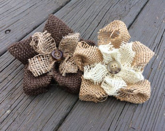 Rustic Burlap Flowers with Button ~ Set of 2 ~ Customizable! ~ Shabby Chic ~ Vintage ~ Wedding Decor ~ Home Decor