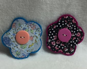Flower Hair Clips - Set of 2 (#004)