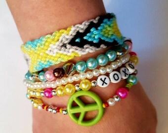 Friendship bracelet,OOAK,Charm Jewelry Set,Bohemian Bracelet