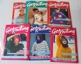 Vintage 80s Marshall Cavendish Get kiniting, Set of 6 Knitting magazines packs .Neat