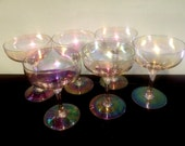 6 Amber Iridescent Bubble Champagne Glasses