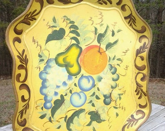 Vintage Yellow Floral and Fruit Metal Tray