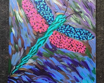 Original Hand Painted Abstract Dragon Fly