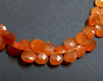 AAA Grade CARNELIAN Faceted Heart shape Briolette Beads, Size 7-8 mm, 6 inches Strand Length, Super Quality gems for Jewellery