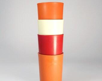 Funky Retro set of four stacking Tupperware beakers
