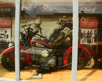 Western Photography SD > Photograph of Vintage Indian Motorcycle Bike Store Front in Lowell AZ Collectors Old  Auto Cars Bisbee AZ Display