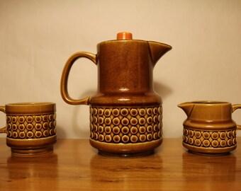 Vintage Tea Pot Set Teapot Brown Japan Cream Creamer and Sugar Bowl