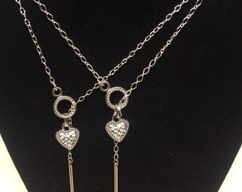 TTD Sister's or BFF's Silver Drop Necklaces