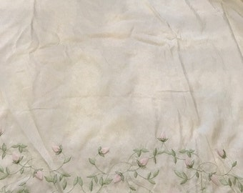 Cream Taffeta with Embroidered Scalloped Edge BY THE YARD