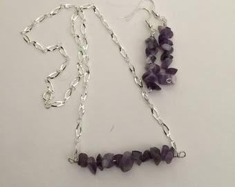 Amethyst Gemstone Handmade Bar Necklace and Earrings Jewelry Set