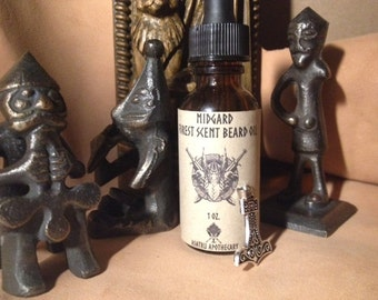 Midgard Forest Scent Beard Oil Viking Beard Oil and Free Thor's Hammer